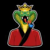 Koning Cobra Mascot, cobra met kroon Stock Afbeeldingen