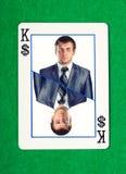 Koning die van dollars kaart gokt Stock Foto