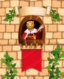 Koning die zich op de kasteeltoren bevinden Stock Foto