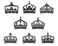 Koning en koningin heraldische geplaatste kronen Stock Afbeelding