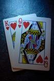 Koning en koningin van harten Royalty-vrije Stock Afbeeldingen
