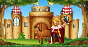 Koning en paard bij het kasteel Royalty-vrije Stock Fotografie