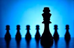 Koning en pandschaakstukken Stock Foto's