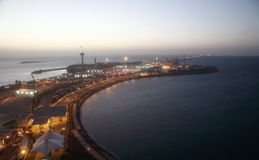 Koning Fahd Causeway over de Golf van Bahrein stock fotografie