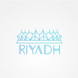 Koning Fahd - het symbool van Riyadh, Saudi-Arabië Modern lineair minimalistisch pictogram Één lijn sightseeingsconcept Front Vie Stock Foto