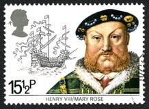 Koning Hnery VIII en de Postzegel van Mary Rose het UK stock fotografie