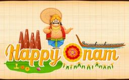 Koning Mahabali die Boot van Race van Kerla op Onam genieten Royalty-vrije Stock Afbeeldingen