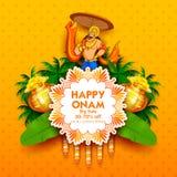 Koning Mahabali op reclame en bevorderingsachtergrond voor Gelukkig Onam-festival van Zuid-India Kerala royalty-vrije illustratie