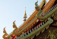 Koning Naga Serpent Statues stock foto