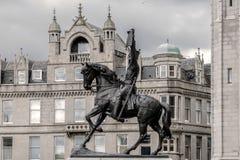 Koning Robert het Bruce-standbeeld Aberdeen, Schotland, het UK stock foto's