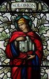 Koning Solomon in gebrandschilderd glas Stock Foto's