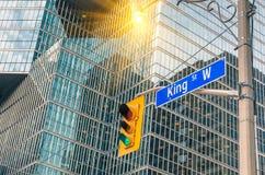 Koning Street Sign - Toronto de stad in stock fotografie