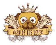 Koning van het huis - Hondembleem Stock Afbeeldingen