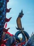 Koning van Nagas, Wat Roi Phra Phutthabat Phu Manorom, Thailand stock foto