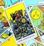 Koning van Pentacles de Rijkdommidas van de Tarotkaart van de Bedrijfs aanrakingsluxe Imperium Succesvolle Bedrijfs Hoofdkwalific stock illustratie
