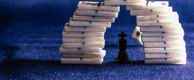 Koning van schaak en domino's Royalty-vrije Stock Foto