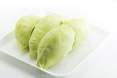 Koning van vruchten, durian op witte achtergrond Stock Foto