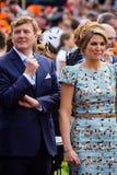Koning Willem-Alexander en koninginmã ¡ xima van Nederland, Koning ` s Dag 2014, Amstelveen, Nederland Royalty-vrije Stock Afbeeldingen