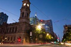 Koning William Street in Adelaide, Zuid-Australië Royalty-vrije Stock Foto's
