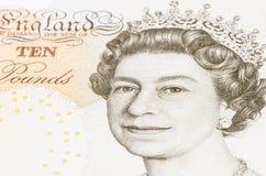 Koningin elizabeth in een 10 pond Stock Foto's