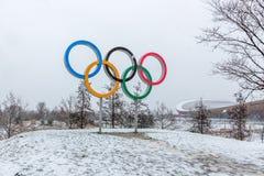 Koningin Elizabeth Olympic Park in sneeuw stock afbeelding