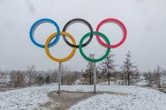 Koningin Elizabeth Olympic Park in sneeuw stock foto's