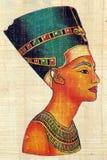 Koningin Nefertiti op Papyrus Royalty-vrije Stock Foto