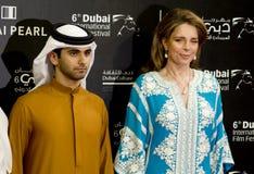Koningin Noor van Jordanië, met de ambtenaar van de V.A.E stock foto's