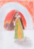 Koningin op achtergrond van rode bergen Royalty-vrije Stock Foto
