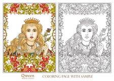 Koningin op middeleeuwse bloemenpatroonachtergrond vector illustratie