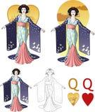 Koningin van reeks van de de Maffiakaart van de harten de Aziatische actrice Royalty-vrije Stock Foto's