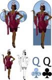 Koningin van reeks van de de Maffiakaart van het clubs de Afro-Amerikaanse filmsterretje Stock Fotografie