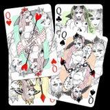 koninginnen Speelkaartontwerp Royalty-vrije Stock Foto's