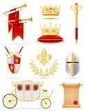 Konings koninklijke gouden attributen van middeleeuwse machts vectorillustrati royalty-vrije illustratie