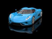 Koningsblauwen supercar in zwarte toonzaal Stock Foto's