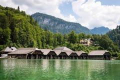 Koningssee lake in German Alps. Natioanal park and fisherman houses in Koningssee, Alps stock photo