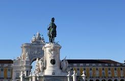 Koningsstandbeeld op het vierkant in het centrum van Lissabon Royalty-vrije Stock Afbeelding