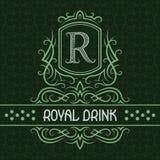 Koninklijk het ontwerpmalplaatje van het dranketiket Gevormd uitstekend monogram met tekst op naadloze patroonachtergrond stock illustratie