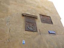 Koninklijk kasteel, oude huizen in de stad in de oude stad van Warshau, Polen De Mening van de dag royalty-vrije stock afbeelding