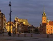 Koninklijk Kasteel in Warshau, Polen, bij zonsopgang royalty-vrije stock fotografie