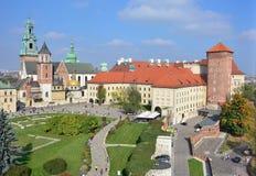 Koninklijk Kasteel Wawel - panorama Royalty-vrije Stock Afbeeldingen