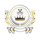Koninklijk Kroonembleem Heraldisch vectorontwerpelement Retro stijletiket, wapenkundeembleem Antiquiteit logotype op wit wordt ge royalty-vrije illustratie