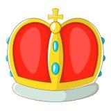 Koninklijk kroonpictogram, beeldverhaalstijl Royalty-vrije Stock Afbeeldingen