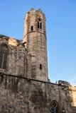 Koninklijk paleis in Barcelona: Toren van Santa Agata-kapel Stock Foto's