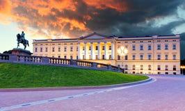 Koninklijk paleis in Oslo, Noorwegen Stock Fotografie