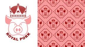 Koninklijk Varkensvleesembleem Varken in kroon Embleem voor productie van vlees Stock Foto's