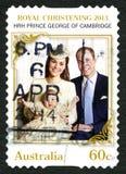 Koninklijke Doopsel 2013 Australische Postzegel stock afbeeldingen