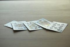 koninklijke gelijke kaarten met pook Royalty-vrije Stock Foto's