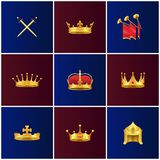 Koninklijke Gouden Middeleeuwse Geplaatste Attributenillustraties stock illustratie
