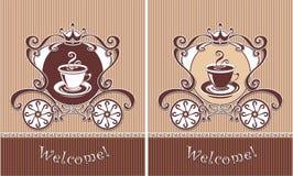Koninklijke Kop van koffie of thee in vervoer Stock Foto's